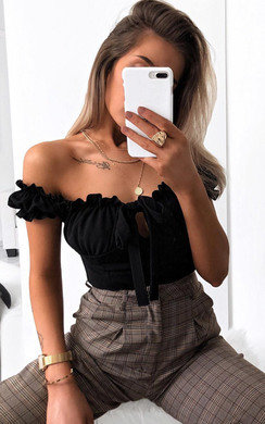 View the Kora Frill Bardot Tie Crop Top online at iKrush