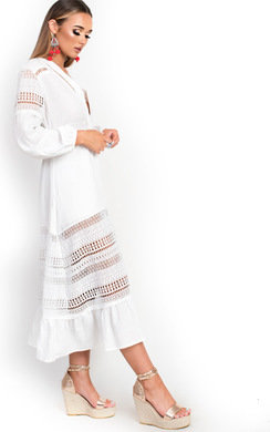 View the Kori Crochet Lace Cardigan Dress  online at iKrush