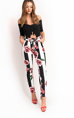 View the Kourt Floral Paperbag Straight Legged Trousers online at iKrush