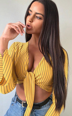 View the Kristy Striped Tie Crop Blouse online at iKrush