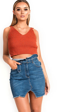 View the Krystal High-Waisted Belted Frayed Denim Skirt online at iKrush