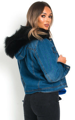 View the Kya Faux Fur Hooded Denim Jacket online at iKrush