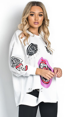 View the Kyle Pin Embellished Oversized Jumper online at iKrush