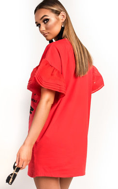 View the Kyro Slogan Embellished T-Shirt Dress online at iKrush