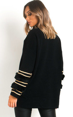 View the Lacie Faux Fur Gold Studded Jumper online at iKrush