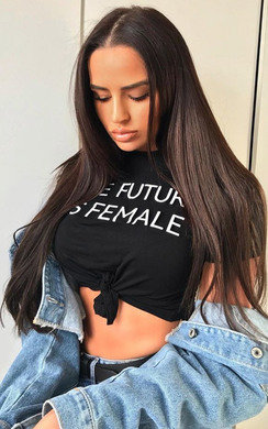 View the Lahna Tie Slogan Crop Top  online at iKrush