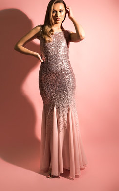 View the Lala Sequin Fishtail Maxi Dress online at iKrush