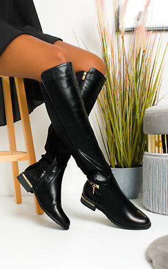 View the Laney Faux Leather Knee High Buckle Boots online at iKrush