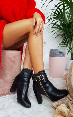 View the Lani Ring Buckle Block Heel Ankle Boots online at iKrush