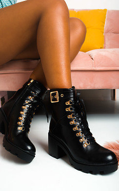 View the Lara Lace Up Heeled Boots  online at iKrush
