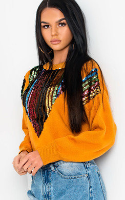 View the Larsa Sequin Embellished Knitted Jumper online at iKrush