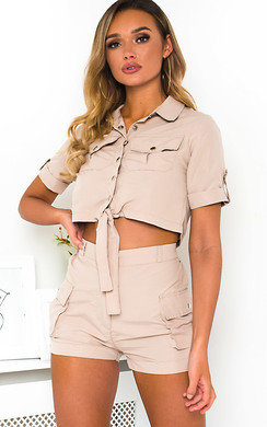View the Launie Cargo Shirt and Shorts Co-Ord  online at iKrush