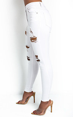 View the Layla Distressed White Skinny Jeans  online at iKrush