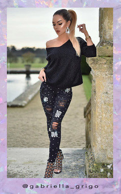 View the Leanne Distressed Crystal Embellished Jeans  online at iKrush