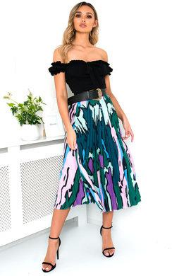 View the Leena Pleated Print Midi Skirt online at iKrush