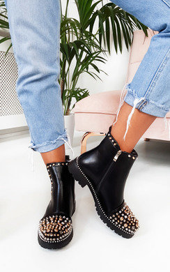 View the Leigh Spike Studded Ankle Boots online at iKrush