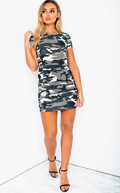 View the Lelli Camo Bodycon T-Shirt Dress online at iKrush