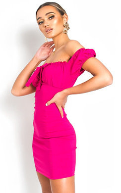View the Leona Bardot Frill Bandage Dress online at iKrush