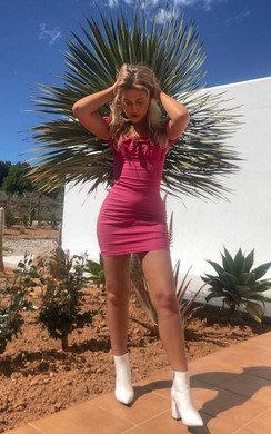 View the Leona Bardot Frill Bandage Dress online at iKrush
