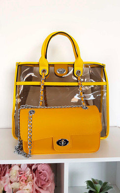 View the Leona Transparent Two in One Tote Handbag online at iKrush