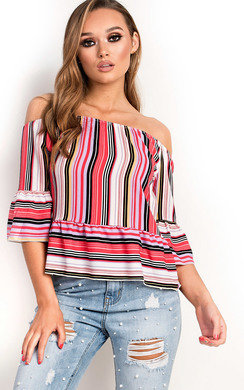 View the Lexi Off Shoulder Stripe Frill Top online at iKrush