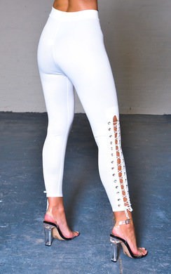 View the Lia Lace Up Corset Leggings online at iKrush