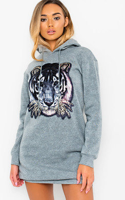 View the Liani Tiger Embellished Jumper Dress  online at iKrush