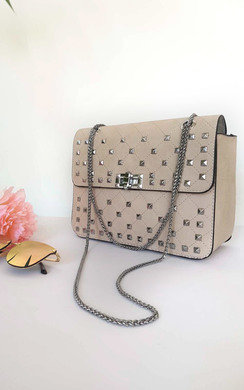 View the Lianna Quilted Silver Studded Shoulder Bag online at iKrush