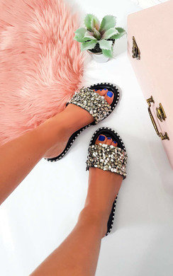 View the Libby Embellished Open Toe Sandals online at iKrush