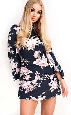 View the Lila Floral Bell Sleeve Dress online at iKrush