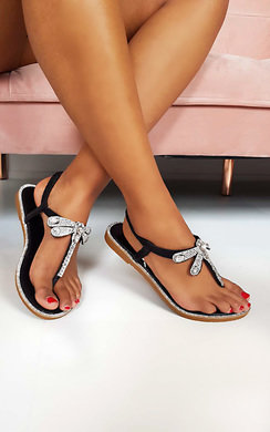 View the Liliana Diamante Embellished T-Bar Sandals  online at iKrush
