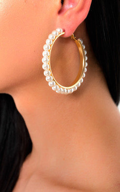 View the Lillian Pearl Hoop Earrings  online at iKrush
