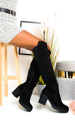 View the Lilly Faux Suede Knee High Boots online at iKrush