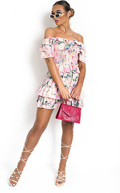 View the Lilly Off Shoulder Floral Dress online at iKrush