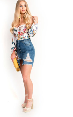 View the Lillz High Waisted Denim Ripped Frayed Skirt online at iKrush