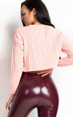 View the Lima Cropped Cable Knit Jumper online at iKrush