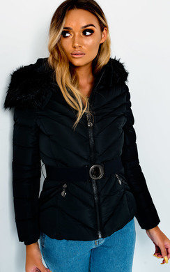 View the Lina Padded Faux Fur Hood Belted Jacket online at iKrush