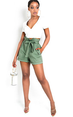 View the Lindy High Waist Chino Shorts online at iKrush