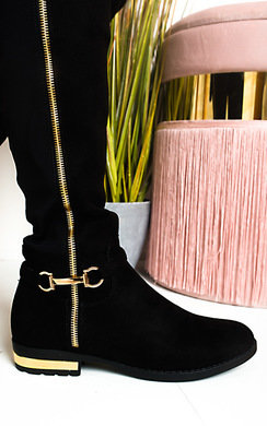 View the Linsey Faux Suede Knee High Buckle Boots online at iKrush