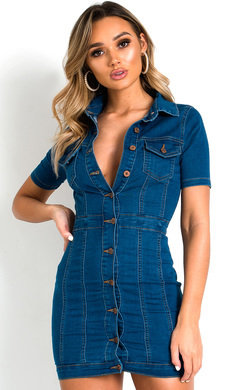 View the Lissy Button Up Denim Dress online at iKrush