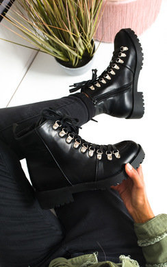 View the Lissy Lace Up Flat Boots online at iKrush