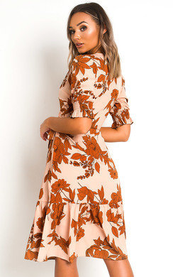 View the Liv Printed Frill Midi Dress online at iKrush