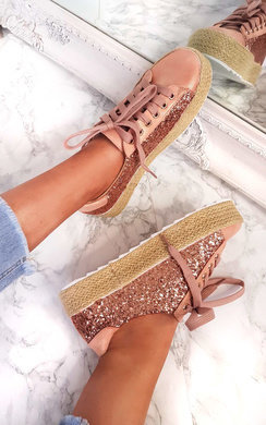 View the Liv Sequin Espadrille Lace Up Trainer  online at iKrush