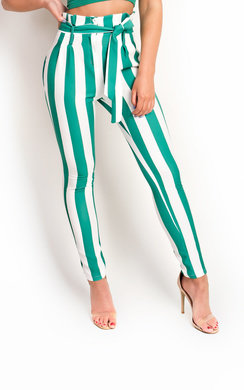 View the Livia Striped High Waist Trouser online at iKrush