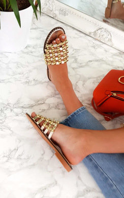 View the Liza Studded Caged Open Toe Sandals online at iKrush