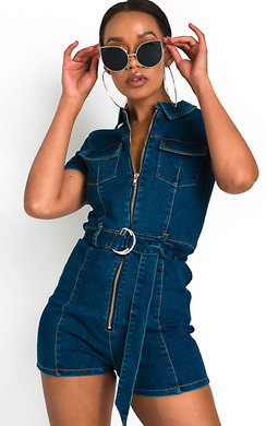 View the Lizzy Zip Up Denim Playsuit  online at iKrush