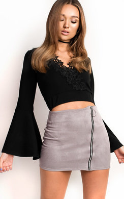 View the Lo Zipped Faux Suede Skirt online at iKrush