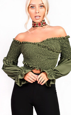 View the Lola Bardot Stretch Long Sleeved Frill Crop Top online at iKrush
