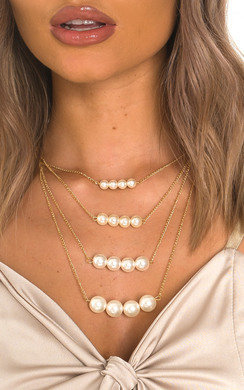 View the Lola Multi Pearl Drop Design Necklace  online at iKrush