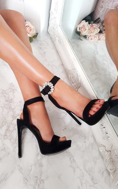 View the Lolita Barely There Faux Suede Platform Heels online at iKrush